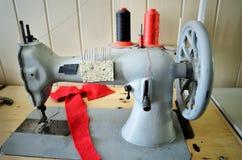 Handwheel old sewing machine. horizontal Royalty Free Stock Photo