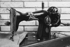 The handwheel vintage sewing machine Stock Images