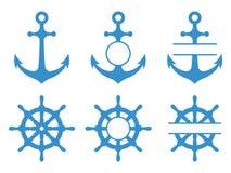 Handwiel en ankerpictogrammen Overzees schip Vectormonogrammen geplaatst geïsoleerd stock illustratie