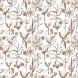 Handwilde Blumen der gezogenen Musterskizzenart Linie Naturart, Zeichnungsflora, Handgezogene Botanik stock abbildung