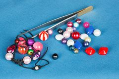 Handwork. beads kits for making jewelry Stock Image
