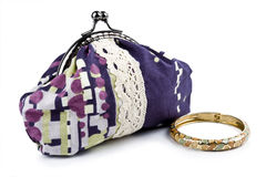 The handwork does bag and  jewelry Royalty Free Stock Photography