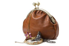 The handwork does bag and  jewelry Stock Photos