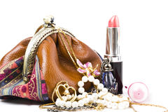 The handwork does bag and  jewelry Royalty Free Stock Image