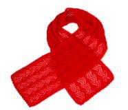 Handwork feito malha lenço Lenço de lã vermelho fotografia de stock royalty free