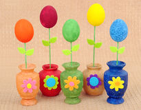 Handwork vases with the painted eggs Royalty Free Stock Photography