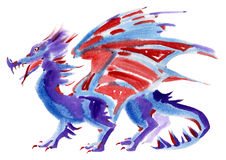 Handwork watercolor illustration of a dragon Stock Images