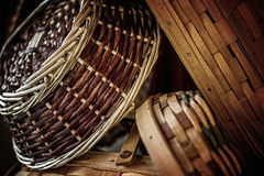 Handwoven Baskets in Natural Light Stock Photography