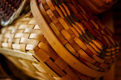 Handwoven Baskets in Natural Light Royalty Free Stock Image