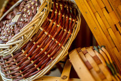 Handwoven Baskets in Natural Light Royalty Free Stock Photo