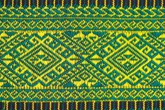Handwoven Gewebe der Gewebefarbeantike, natürliche Färbungsgewebe, schöne Farben, schöne Gewebe, alte Modegewebeseide thailändisc Stockfotografie