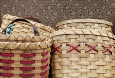Handwoven Wooden Baskets Stock Images
