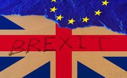 Handwritetekst Brexit op zandkustlijn royalty-vrije stock fotografie