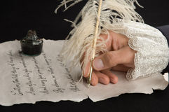 Handwriting. With feather pen on old paper Royalty Free Stock Image