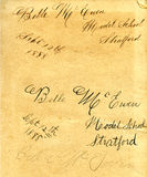Handwriting from 1888 Royalty Free Stock Image