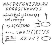 Handwriting alphabet Stock Image