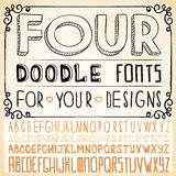 Handwriting Alphabets. Hand Drawn Fonts Royalty Free Stock Photos