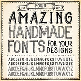 Handwriting Alphabets. Hand Drawn Fonts Royalty Free Stock Image