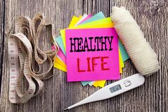 Handwriting Announcement text Healthy Life. Business fitness health concept for Good Health Food written sticky note empty paper b. Handwriting Announcement text Royalty Free Stock Image