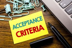 Handwriting Announcement text showing Acceptance Criteria. Business concept for Digital Criterion written on sticky note paper on. Wooden background next to the Stock Photography