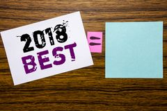 Handwriting Announcement text showing 2018 Best. Business concept for Choice Review written on sticky note paper on wooden backgro stock images