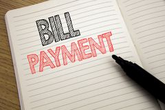 Handwriting Announcement text showing Bill Payment. Business concept for Billing Pay Costs written on notebook with copy space on. Handwriting Announcement text Royalty Free Stock Image