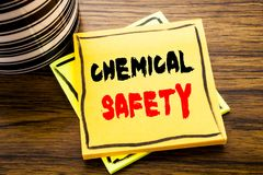 Handwriting Announcement text showing Chemical Safety. Business concept for Hazard Health At Work written on sticky note paper on. Wooden wood background with stock photo