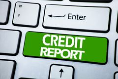Handwriting Announcement text showing Credit Report. Business concept for Finance Score Check written on blue key on the keybord b. Handwriting Announcement text Royalty Free Stock Image