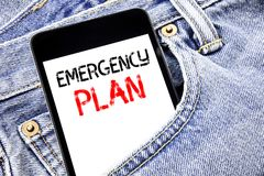 Handwriting Announcement text showing Emergency Plan. Business concept for Disaster Protection Written phone mobile phone, cellpho. Ne placed in man front jeans Stock Photos