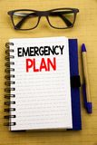 Handwriting Announcement text showing Emergency Plan. Business concept for Disaster Protection Written on tablet laptop, wooden ba. Handwriting Announcement text Stock Photography
