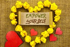 Handwriting Announcement text showing Empower Yourself. Concept meaning Positive Motivation Advice For Personal Development writte royalty free stock photography