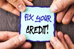 Handwriting Announcement text showing Fix Your Credit. Conceptual photo Bad Score Rating Avice Fix Improvement Repair written on S. Handwriting Announcement text Stock Photo