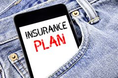 Handwriting Announcement text showing Insurance Plan. Business concept for Health Life Insured Written phone mobile phone, cellpho. Ne placed in man front jeans Royalty Free Stock Photos