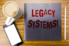 Handwriting Announcement text showing Legacy Systems. Business concept for Upgrade SOA Application Written on notepad note paper,. Wooden wood background coffee Royalty Free Stock Photos