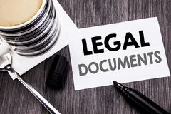 Handwriting Announcement text showing Legal Documents. Business concept for Contract Document written on sticky note paper on the. Handwriting Announcement text Stock Image