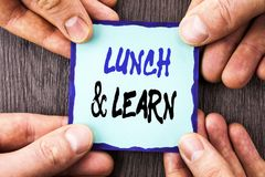 Handwriting Announcement text showing Lunch And Learn. Conceptual photo Presentation Training Board Course written on Sticky Note. Handwriting Announcement text Royalty Free Stock Photos