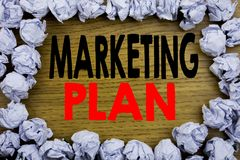 Handwriting Announcement text showing Marketing Plan. Business concept for Planning Successful Strategy written on wooden wood bac. Kground with on old Stock Photography