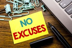 Handwriting Announcement text showing No Excuses. Business concept for Stop Ban for Excuse written on sticky note paper on the woo. Handwriting Announcement text Stock Photo