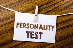 Handwriting Announcement text showing Personality Test. Business concept for Attitude Assessment written on sticky note paper on t. Handwriting Announcement text royalty free stock photo