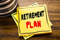 Handwriting Announcement text showing Retirement Plan. Business concept for Pension Finance written on sticky note paper on the wo. Handwriting Announcement text Royalty Free Stock Images