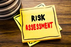 Handwriting Announcement text showing Risk Assessment. Business concept for Safety Danger Analyze written on sticky note paper on. Wooden wood background with Royalty Free Stock Photography