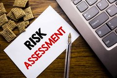 Handwriting Announcement text showing Risk Assessment. Business concept for Safety Danger Analyze written on sticky note paper on. Wooden background next to the stock photos