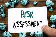 Handwriting Announcement text showing Risk Assessment. Business concept for Safety Danger Analyze Written on sticky note paper, wo. Oden background folded yellow Stock Photo