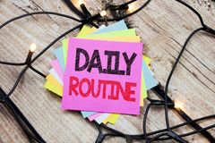 Handwriting Announcement text showing Daily Routine. Business concept for Habitual Lifestyle written on sticky note with copy spac. Handwriting Announcement text Royalty Free Stock Images