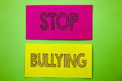 Handwriting Announcement text showing Stop Bullying. Conceptual photo Awareness Problem About Violence Abuse Bully Problem written. Sticky note paper the green Stock Image
