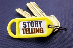 Handwriting Announcement text showing Storytelling. Business concept for Teller Story Message Written on key holder note black bac. Handwriting Announcement text Stock Photos