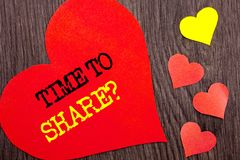 Handwriting Announcement text showing Time To Share Question. Concept meaning Your Story Sharing Feedback Suggestion Information. Written Heart Love the wooden stock photos