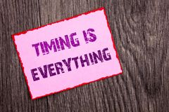 Handwriting Announcement text showing Timing Is Everything. Conceptual photo Important Success Advice To Be Ready For Precision wr. Itten Pink Sticky Note Paper stock photos