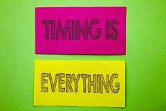Handwriting Announcement text showing Timing Is Everything. Conceptual photo Important Success Advice To Be Ready For Precision wr. Itten sticky note paper the Royalty Free Stock Image