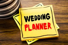 Handwriting Announcement text showing Wedding Planner. Business concept for Marriage Preparation written on sticky note paper on t. Handwriting Announcement text Stock Images